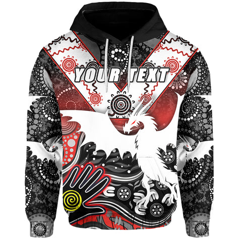 (Custom Personalised) White Dragons Hoodie Indigenous Front | Rugbylife.co
