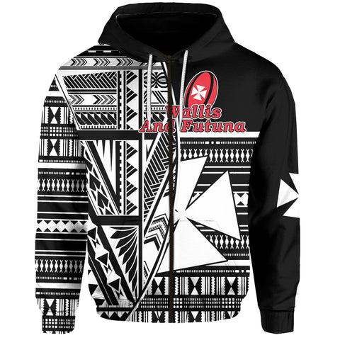 (Custom Personalised) Wallis and Futuna Rugby Zip Hoodie Polynesian Clever Black - Custom Text and Number Front | Rugbylife.co