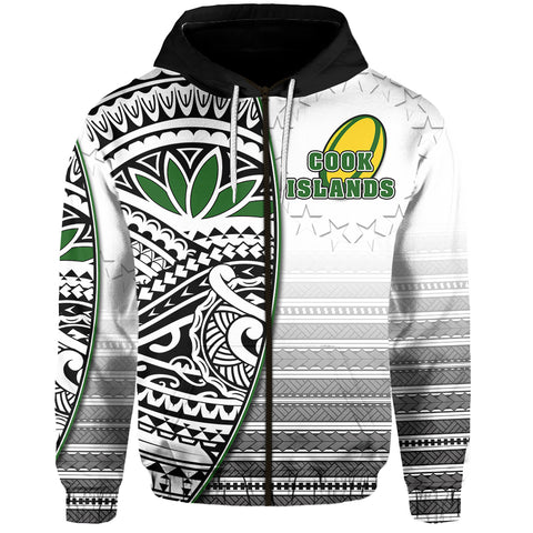 (Custom Personalised) Cook Islands Zip Hoodie Rugby Impressive Version Black  Front - Custom Text and Number | Rugbylife.co