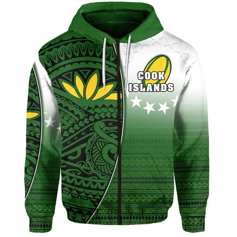 (Custom Personalised) Cook Islands Zip Hoodie Rugby Impressive Version Front - Custom Text and Number | Rugbylife.co