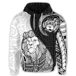 Lion Maori Tattoo Pullover Hoodie K5 - 1st New Zealand