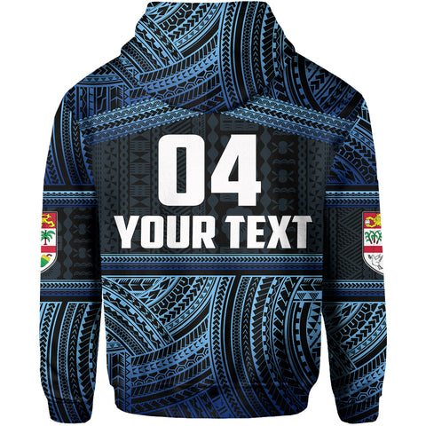Image of (Custom Personalised)Fiji Rugby Polynesian Patterns Hoodie Blue TH4