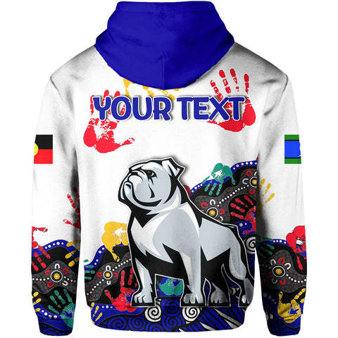 (Custom Personalised) Naidoc Bulldogs All Over Hoodie Aboriginal Hand TH4