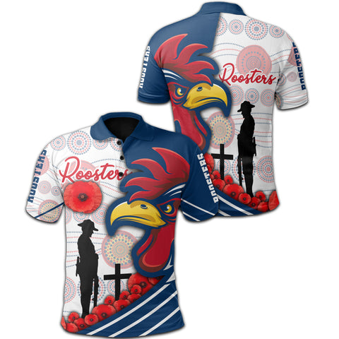 Australia Roosters Polo Shirt Anzac Day - Three Tiles Style | Rugbylife.co