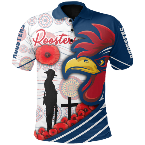 Image of Australia Roosters Polo Shirt Anzac Day - Three Tiles Style | Rugbylife.co