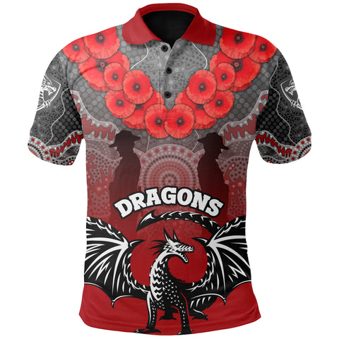 Image of  Dragons Polo Shirt St. George  Anzac Day | Rugbylife.co
