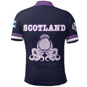 Scotland Rugby Polo Shirt Lion Rampant with Thistle back