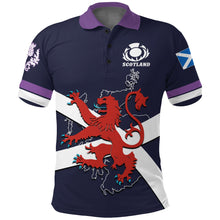 Load image into Gallery viewer, Scotland Rugby Polo Shirt Lion Rampant with Thistle front