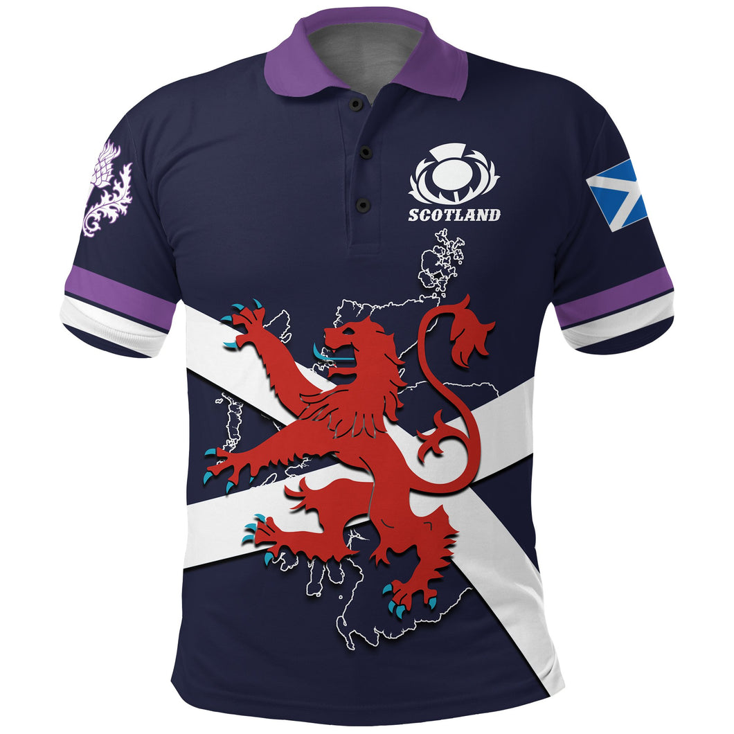 Scotland Rugby Polo Shirt Lion Rampant with Thistle front