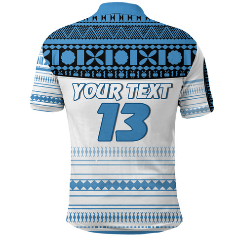 (Custom Personalised) Fiji Rugby Polo Shirt Impressive Version Blue Back - Custom Text and Number | Rugbylife.co
