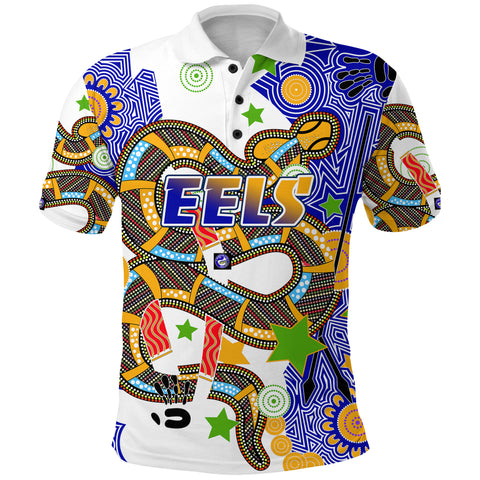 Eels Indigenous Polo Shirt Mix Star Front | Rugbylife.co