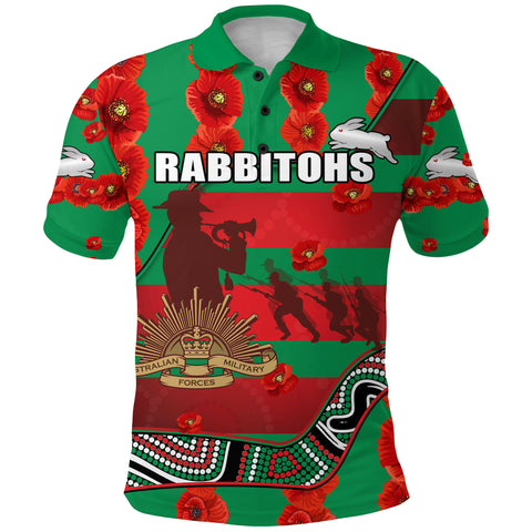 Image of Rabbitohs Anzac Day Polo Shirt Rugby South Sydney Indigenous Military Front | Rugbylife.co
