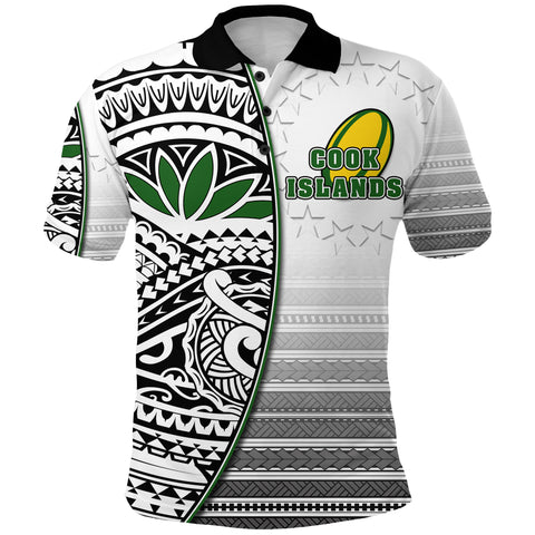(Custom Personalised) Cook Islands Rugby Polo Shirt Impressive Version Black  Front - Custom Text and Number | Rugbylife.co