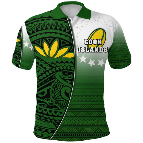 (Custom Personalised) Cook Islands Rugby Polo Shirt Impressive Version Front - Custom Text and Number | Rugbylife.co