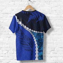 Load image into Gallery viewer, Paua Shell Maori Silver Fern T Shirt Cobalt K5 - 1st New Zealand