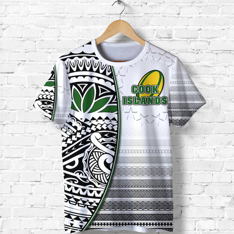 (Custom Personalised) Cook Islands Rugby T Shirt Impressive Version Black - Custom Text and Number Front | Rugbylife.co
