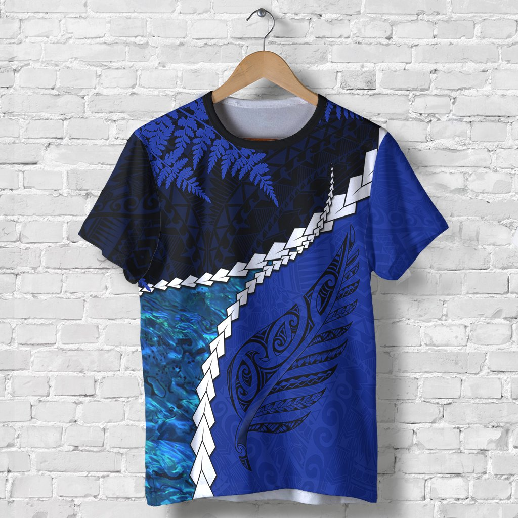 Paua Shell Maori Silver Fern T Shirt Cobalt K5 - 1st New Zealand