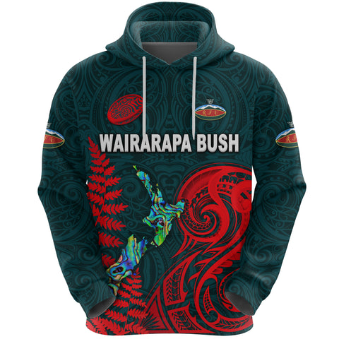(Custom Personalised) Maori Wairarapa Bush Rugby Hoodie New Zealand Silver Fern, Custom Text And Number K8