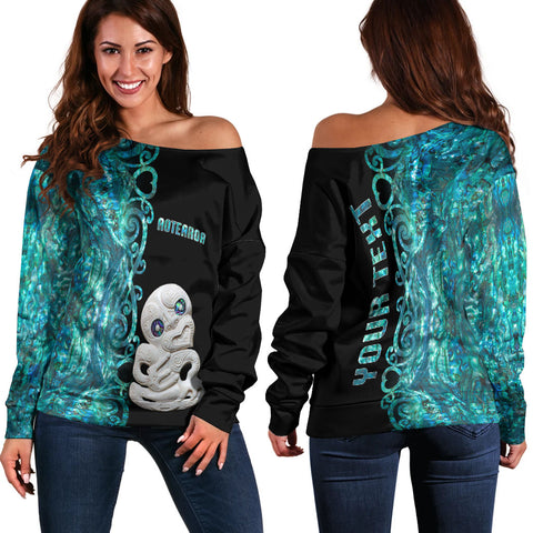 Image of (Custom Personalised)Aotearoa Maori Tiki Women's Off Shoulder Sweater Half Papua Shell Style