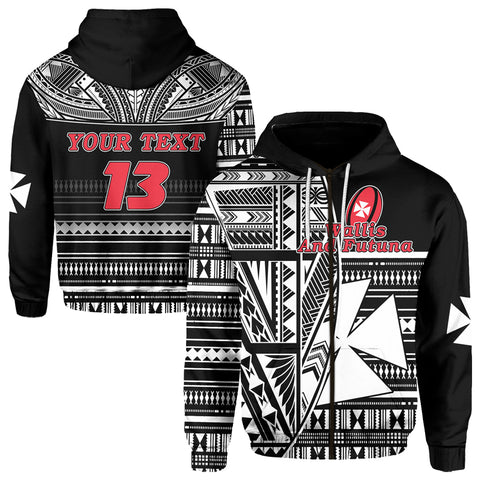(Custom Personalised) Wallis and Futuna Rugby Zip Hoodie Polynesian Clever Black - Custom Text and Number | Rugbylife.co