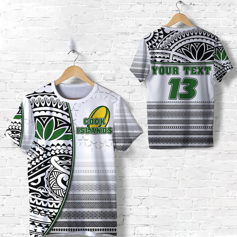 (Custom Personalised) Cook Islands Rugby T Shirt Impressive Version Black - Custom Text and Number | Rugbylife.co