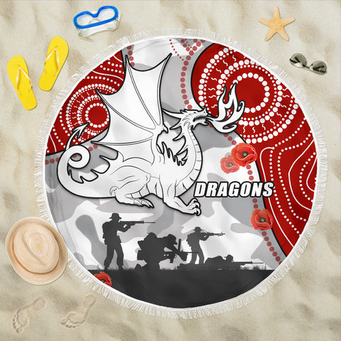 Dragons Anzac Day Beach Blanket Indigenous