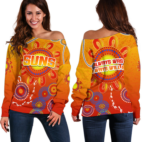 Naidoc Suns Women Off Shoulder Sweater Gold Coast Indigenous Style K36