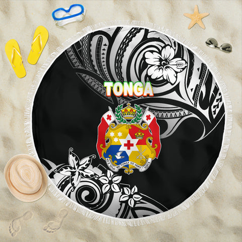 Mate Ma'a Tonga Rugby Beach Blanket Polynesian Unique Vibes - Black