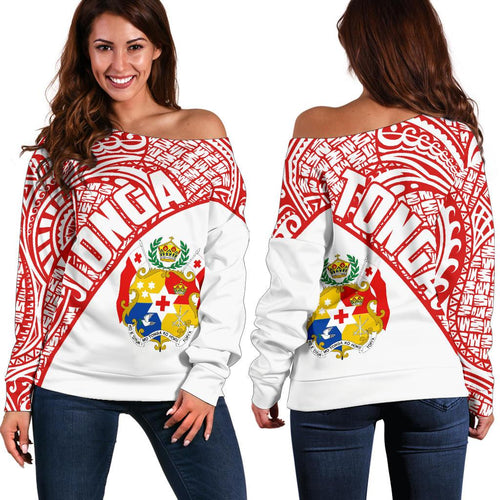 Tonga Polynesian Women's Off Shoulder Sweater Coat Of Arms - Wave Style
