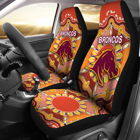 Brisbane Car Seat Covers Broncos Indigenous Warm Vibes K8