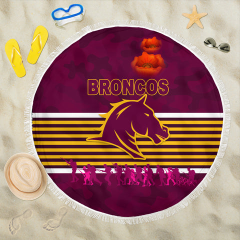 Brisbane Broncos Beach Blanket Anzac Day Simple Style - Full Maroon