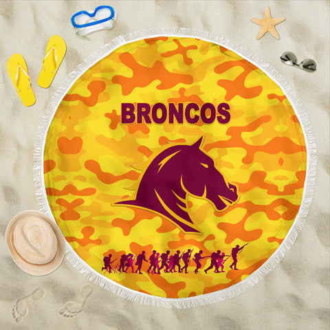 Image of Brisbane Broncos Beach Blanket Anzac Day Camouflage Vibes - Gold