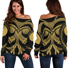 Load image into Gallery viewer, Samoan Tattoo Women's Off Shoulder Sweater Gold TH4 - 1st New Zealand