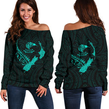 Load image into Gallery viewer, New Zealand Heart Women's Off Shoulder Sweater - Map Kiwi mix Silver Fern Turquoise K4 - 1st New Zealand