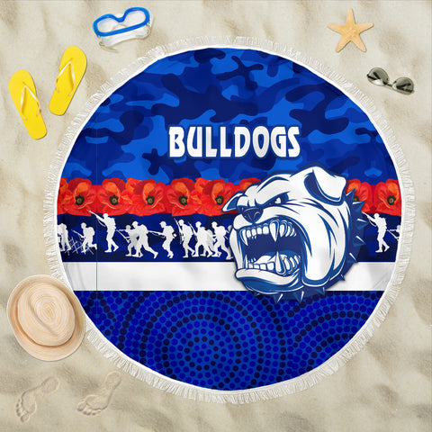 Western Bulldogs Beach Blanket Anzac Day Poppy Flower