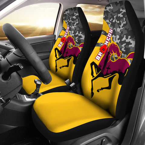 Brisbane Broncos Car Seat Covers Anzac Day - Camo Style