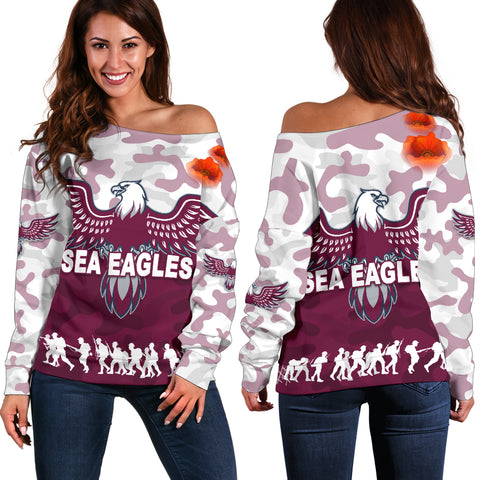 Manly Warringah Women's Off Shoulder Sweater Sea Eagles Anzac Day Camouflage Vibes