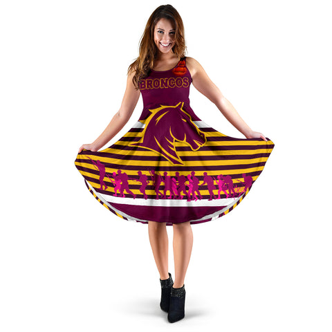 Image of Brisbane Broncos Women's Dress Anzac Day Simple Style - Full Maroon