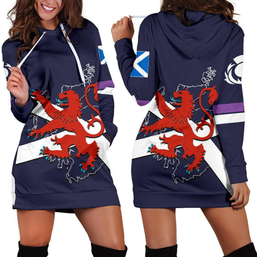 Scotland Rugby Hoodie Dress Lion Rampant with Thistle 1