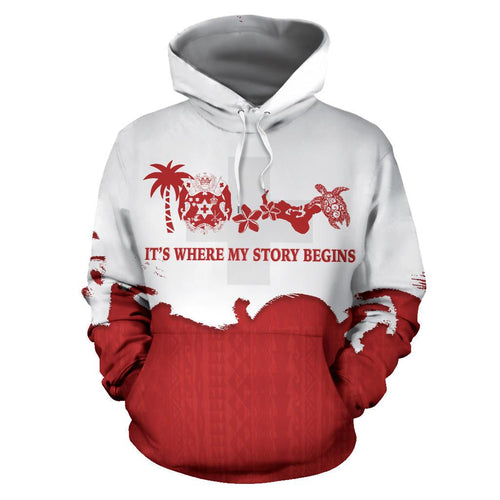 Tonga Where My Story Begins Hoodie with Red mix White color - Front - For Men and Women