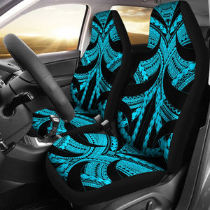 Samoan Tattoo Car Seat Covers Blue TH4 - 1st rugbylife