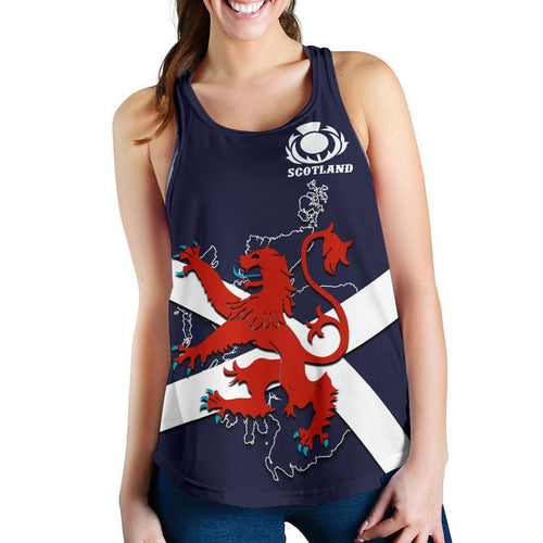 Scotland Rugby Women Racerback Tank Lion Rampant with Thistle 1