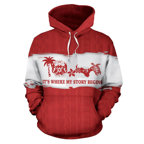 Tonga Where My Story Begins Hoodie Red - Front - For Men and Women