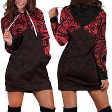 Load image into Gallery viewer, New Zealand Women's Hoodie Dress, Maori Polynesian Tattoo Red TH4 - 1st New Zealand