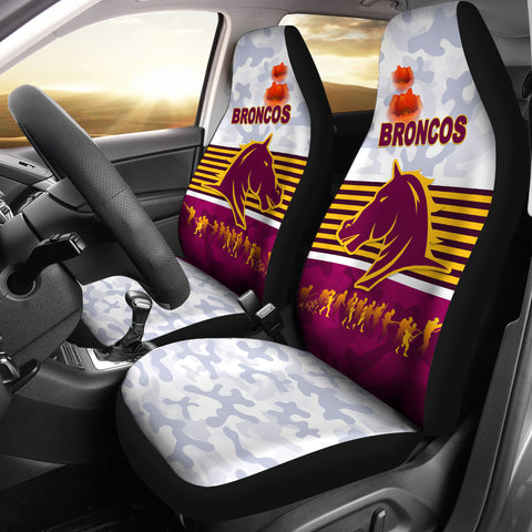 Brisbane Broncos Car Seat Covers Anzac Day Simple Style - White