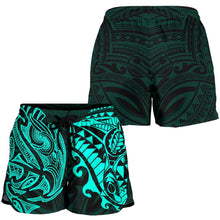 Load image into Gallery viewer, New Zealand All Over Print Women's Shorts, Maori Polynesian Tattoo Turquoise TH4 - 1st New Zealand