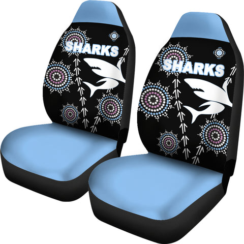 Cronulla Car Seat Covers Sharks Simple Indigenous - Black | Rugbylife.co