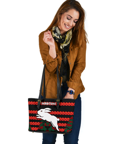South Sydney Rabbitohs Small Leather Tote Anzac Day Poppy Flower Vibes K8