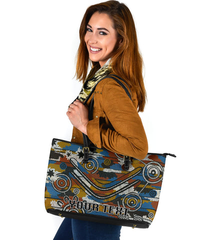 (Custom Personalised) Indigenous All Stars Large Leather Tote TH6