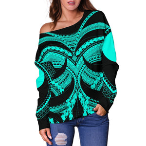 Samoan Tattoo Women's Off Shoulder Sweater Turquoise TH4 - 1st New Zealand